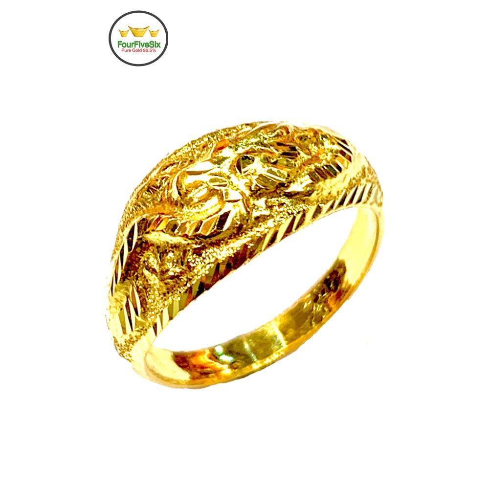 ราคาไม่แพงมาก♨❣►FFS แหวนทองครึ่งสลึง หัวโป่ง มังกร หนัก 1.9 กรัม ทองคำแท้96.5%