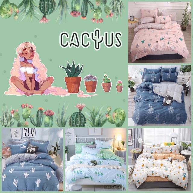 """ชุดผ้าปูที่นอน + ผ้านวมครบเซ็ต 6 ชิ้น """"ลายกระบองเพชร"""" Cactus Beddings 🌵"""