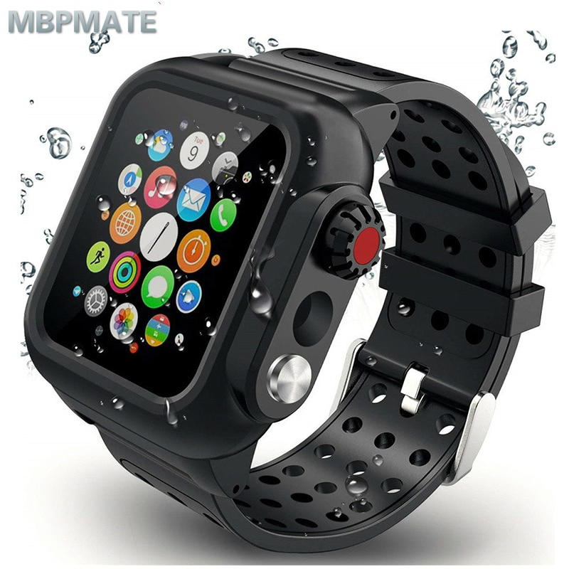 Waterproof Rugged Case with Silicone Band for Apple Watch Series 5 4 3 2 1 for iwatch 38/42/40/44mm Strap Screen Protect