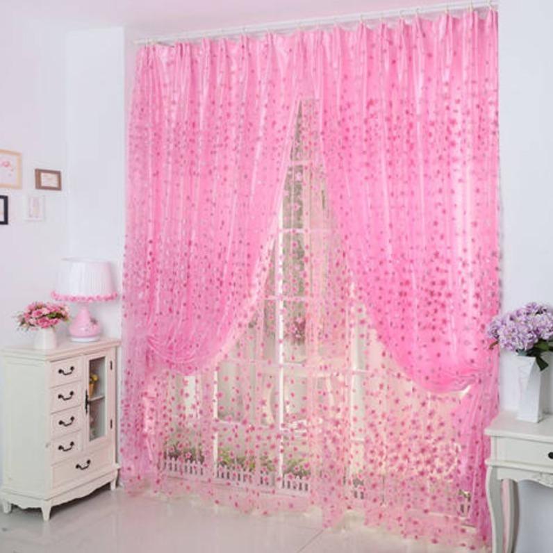 สไตล์สวนดอกไม้เน่าพิมพ์ห้องนอนห้องนั่งเล่นคุณภาพสูงผ้าม่านผ้ากอซสำเร็จรูปผ้าม่านฟรีเจาะVelcro