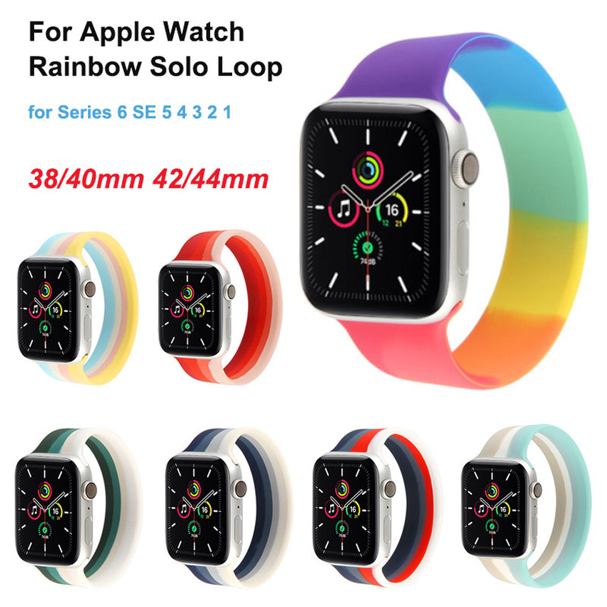 2020 Silicone Solo Loop Strap For Apple Watch band 44mm 40mm 38mm 42mm Elastic Bracelet iWatch Series 6 SE 5 4 3 2 1 Applewatch Colorful Band
