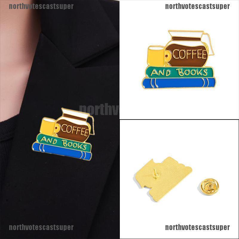 Northvotescastsuper Creative Cartoon Books Coffee Enamel Brooch Pin Lapel Backpack Jewelry Gift NVCS