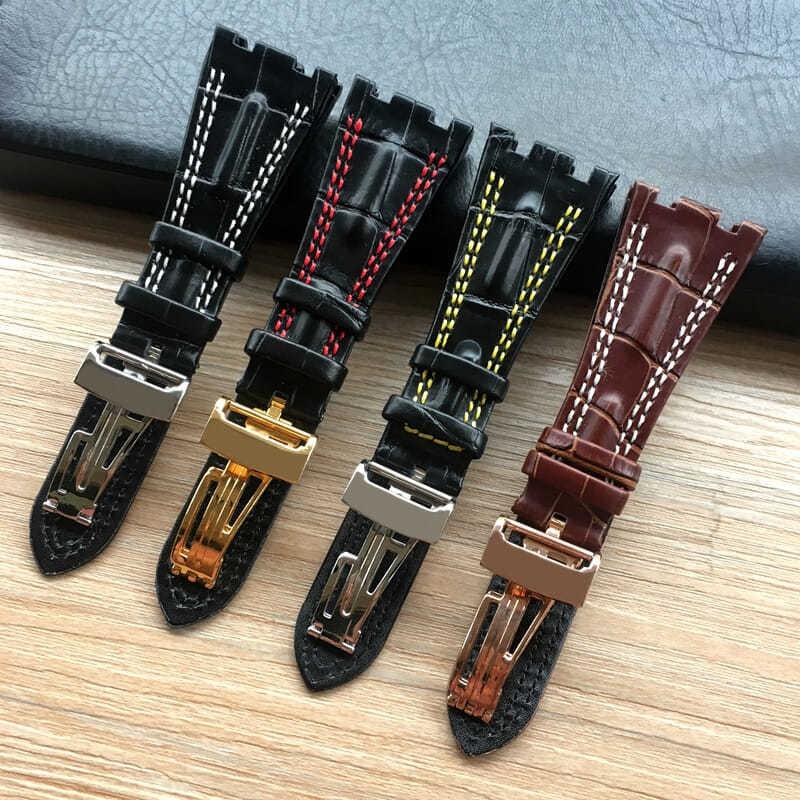 ทางเลือกของสายนาฬิกาหนัง AP Audemars Piguet Royal Oak Offshore series cowhide Notch อุปกรณ์เสริมหัวเข็มขัดแบบพับ 28
