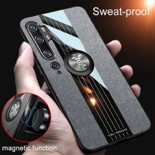 Review Fashion Woven Cloth Casing Xiaomi Mi Note 10 Pro / Note10 Soft TPU Cover Mi CC9 Pro Magnetic Car Finger Ring Holder Case