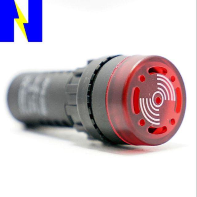 ออดฝังมีไฟ 22 มิล์ LED Buzzer Alarm 22 mm.  ไฟแฟลช มี220v,24v