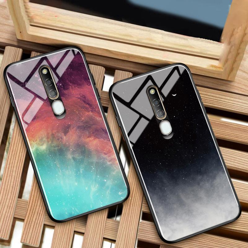 Review OPPO F11 Pro Case Fashion Luxury Cartoon Glass Superme Phone Case