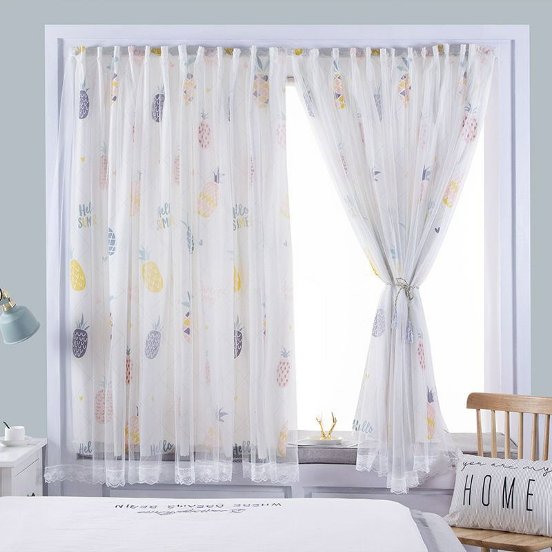 ✐◈ส่งจากไทย ผ้าม่านหน้าต่าง ผ้าม่านสำเร็จรูป ม่านประตู 2ชั้น ผ้าม่านโปร่งแสง ใช้ตีนตุ๊กแก