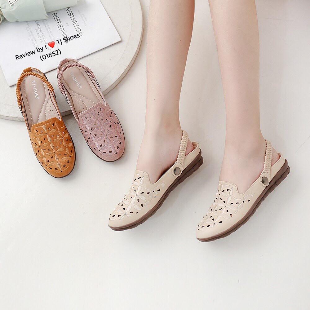 รองเท้าเพื่อสุขภาพผู้หญิง ไซส์36-41 นุ่มเบาใส่สบาย คัชชู เปิดส้น เปิดท้าย รัดส้น หนังนิ่ม ไซส์พิเศษ Tj Shoes 01852
