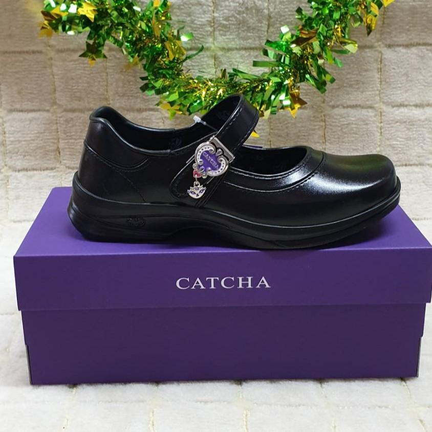 CATCHA : รองเท้านักเรียนหญิง คัชชูสีดำ หัวมน รุ่นแมวตุ้งติ้ง