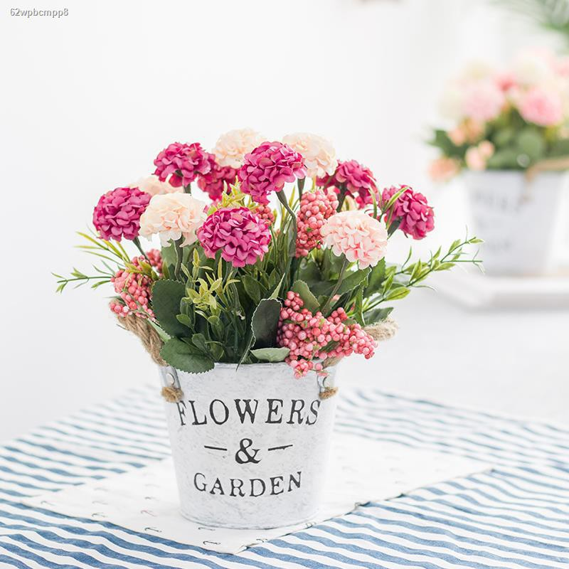 การจำลองพันธุ์ไม้อวบน้ำ☑▨>กระถางดอกไม้เลียนแบบถังเหล็กสไตล์นอร์ดิก ดอกไม้ การจัดดอกไม้ปลอม ดอกไม้ผ้าไหม ช่อกุหลาบ ดอกไม้