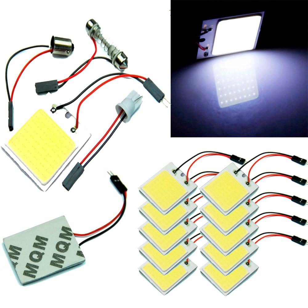 10PCS 48 นำ 12V 3W SMD T10 ซัง LED ไฟรถแผงไฟภายในห้องโดม car light accessories
