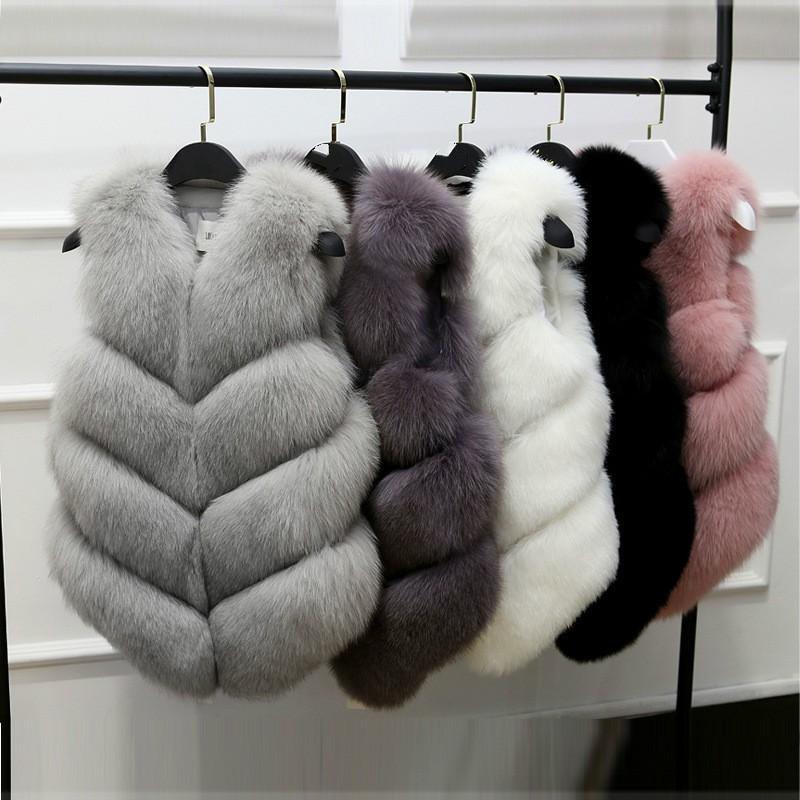 เสื้อกล้ามSleeveless Jacket for Women Fox Fur Vest  Winter Fox Fur Jacket Women Short Artificial Fur Coat Oversized Fema