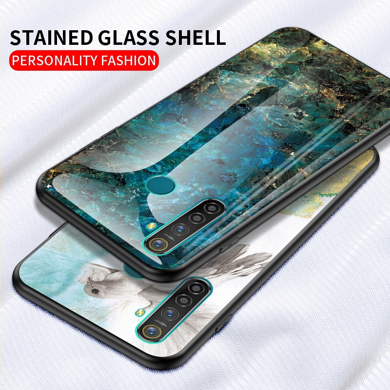 Samsung A9 A8 Star Pro A5 A6 Plus 2018 marble tempered glass gradient back cover case