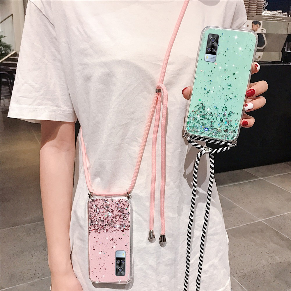 Samsung A6 Plus J8 A9 A7 2018 Note 8 9 10 Pro Note10 Lite เคสโทรศัพท์แบบนิ่ม With Lanyard Strap Bling Glitter Transparent Phone Case