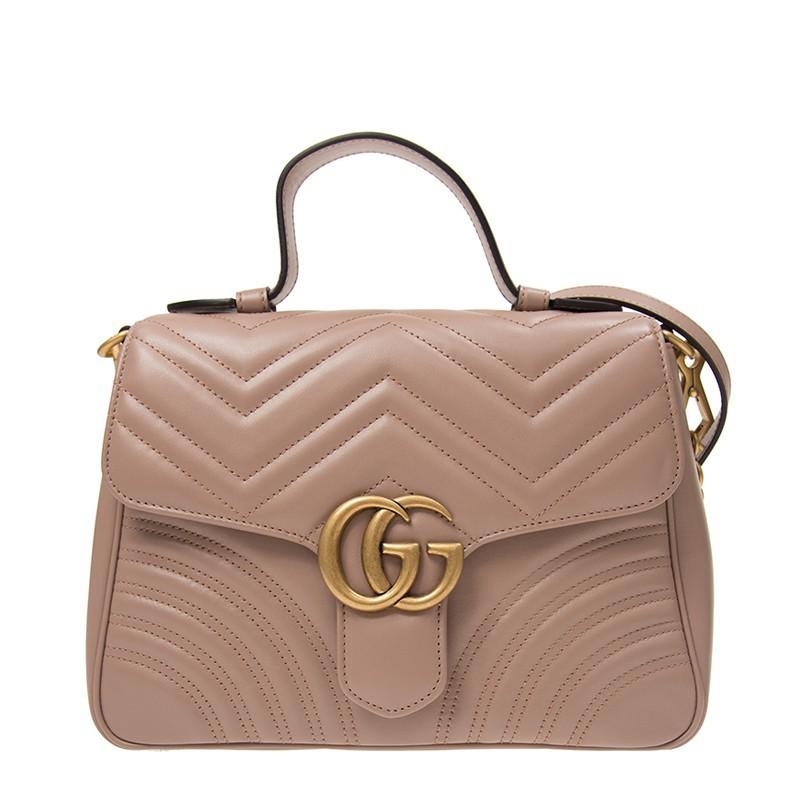 [จุดมาถึงในไต้หวัน] Gucci Gucci 498110 กระเป๋าสะพายพกพาขนาดเล็ก GG Marmont Nude