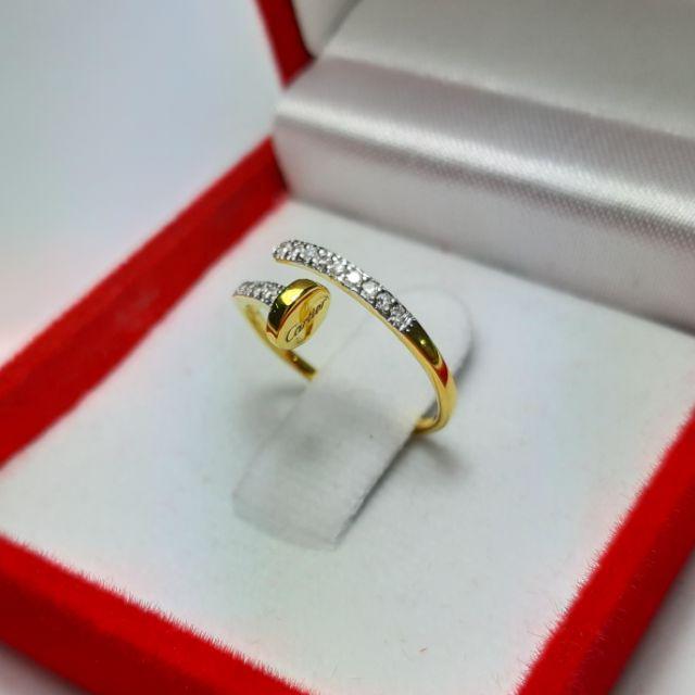 แหวนตะปู ทองแท้9k(37.5%) เพชรเกสร18เม็ด12ตัง ราคา2,950บาท ส่งฟรีค่ะ สินค้ามีใบรับประกัน