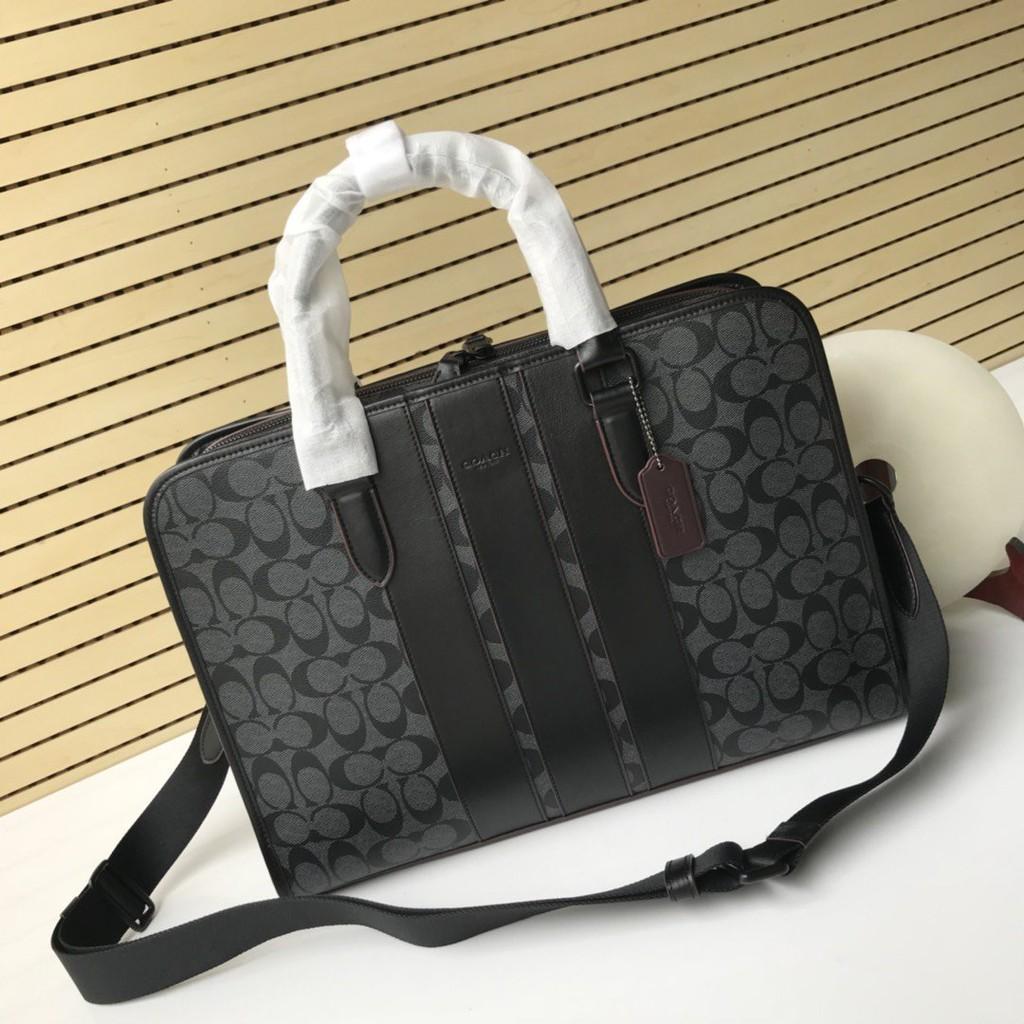 Coach กระเป๋าถือกระเป๋าสะพายผ้าหนัง Pvc สําหรับผู้ชาย