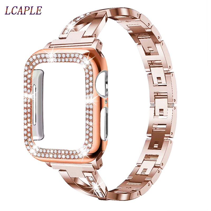 Case + Apple watch strap 5 strap 44mm 40mm stainless steel strap Apple watch strap 432 Iwatch strap 42mm 38mm + Diamond