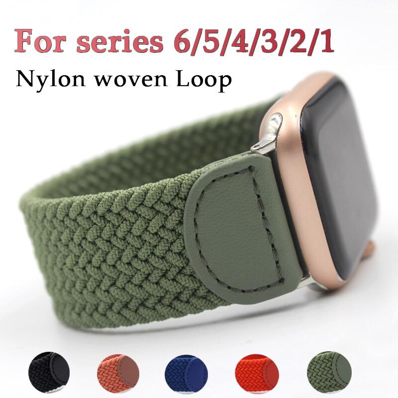 สายนาฬิกาข้อมือไนล่อนสําหรับ Apple Watch Series 5 4 3 Band 6 Se Series 5 4 3