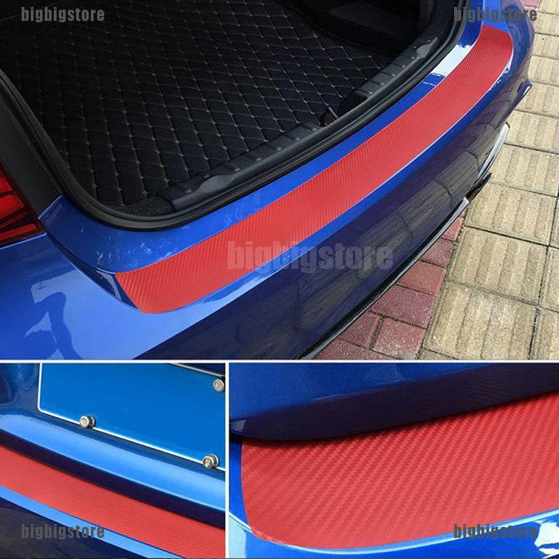 4D Black Carbon Fiber Look Auto Rear Trunk Tail Lip Protect Anti Scratch Sticker