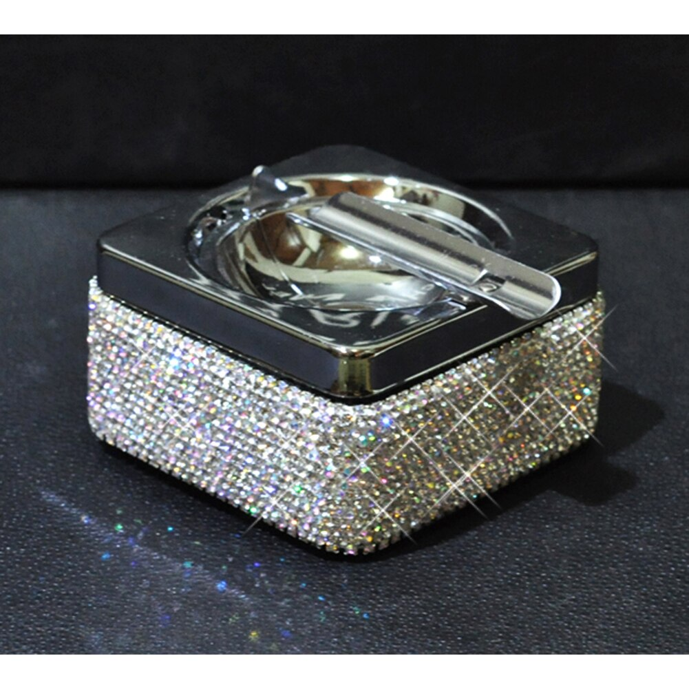 Auto Car Truck Cigarette Cigar Ashtray Rhinestones Ash Cylinder Holder Container White Bling Bling
