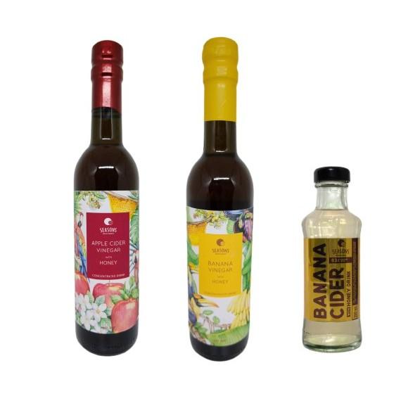 Set Banana Vinegar with Honey Blended / Apple Cider Vinegar with Honey Blended / Banana Vinegar RTD
