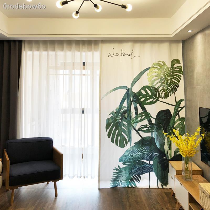 ใหม่การติดตั้งแบบไม่ต้องเจาะ drilling۞▦>ผ้าม่านสไตล์นอร์ดิก แบบกึ่งแรเงา ขนาดเล็ก สด สำเร็จรูป ห้องนั่งเล่น ห้องนอน พืช