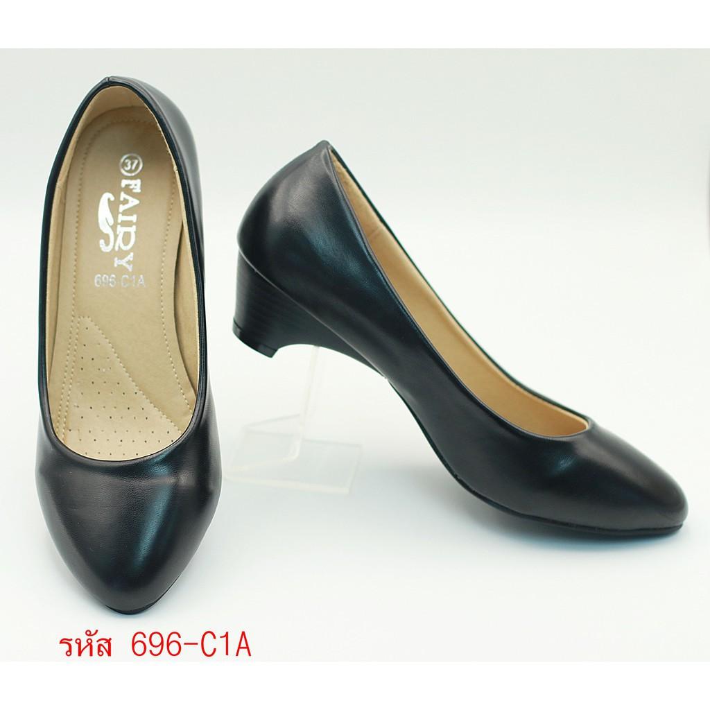 รองเท้าผู้หญิง รองเท้าส้นสูง 696-C1,C1A,C1B  รองเท้าคัชชูนักศึกษา รองเท้าคัชชูสีดำ 1 นิ้ว FAIRY รุ่น 696