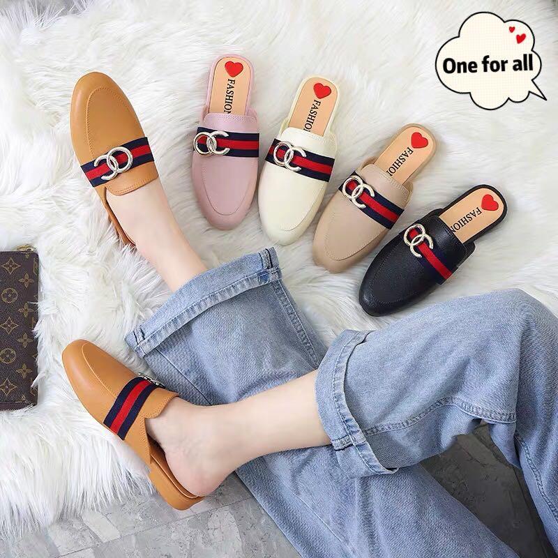 รองเท้าหัวแหลม รองเท้าคัชชูแบบสวม คัชชูเปิดส้น รองเท้าคัชชูแฟชั่นผู้หญิง