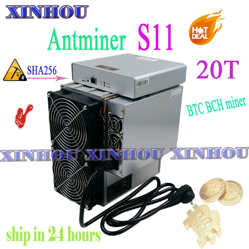 ใช้ BTC BCH Minmin Antminer S11 20T SHA256 ASIC Miner Bitcoin Mining ดีกว่า S17 T17 S9 WhatsMiner M3 m21 Innosilicon T3