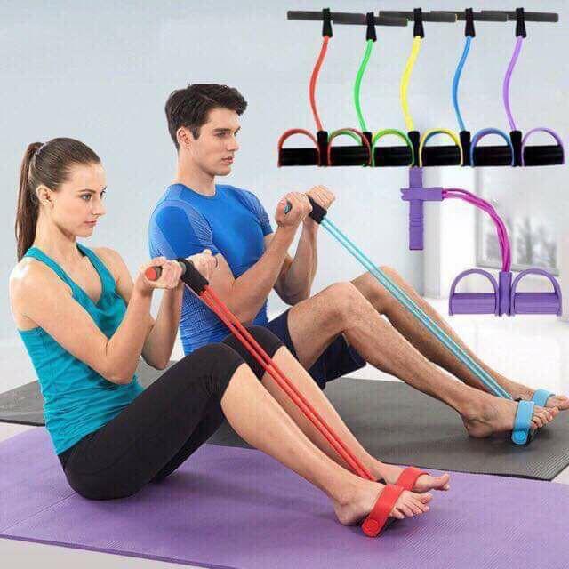 ยางยืดออกกำลังกาย ยางใน 4 เส้น ผ้ายืดออกกำลังกาย ยางยืดแรงต้าน  ยางยืดออกกำลังกายแรงต้านสูง