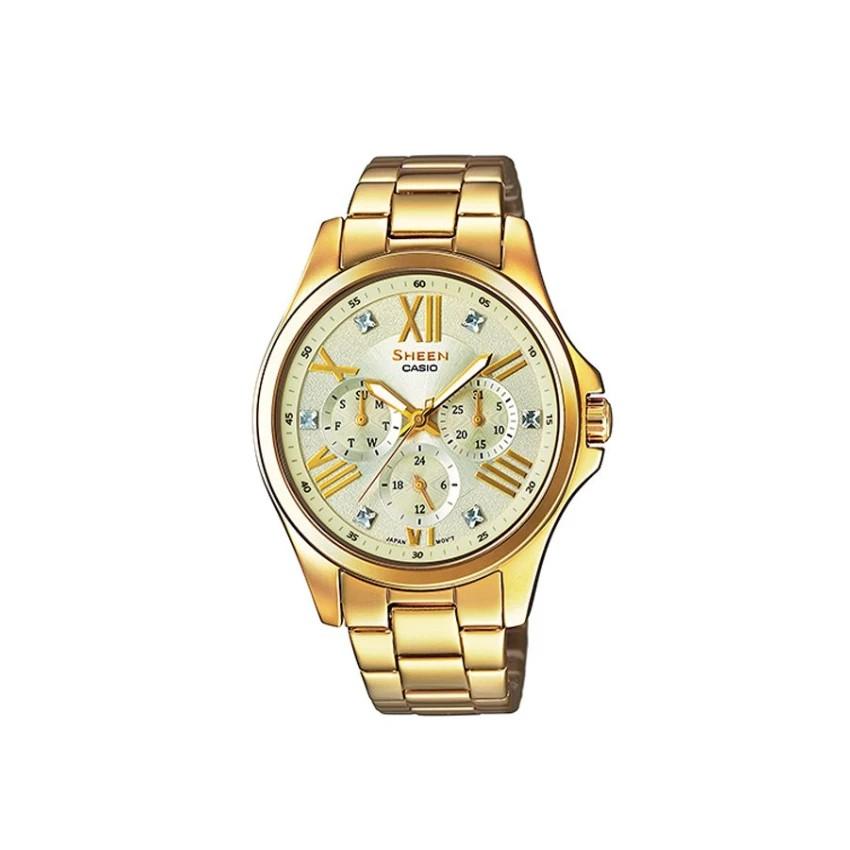 Casio Sheen Chronograph นาฬิกาข้อมือ สีทอง สายสแตนเลส รุ่น SHE-3806GD-9A