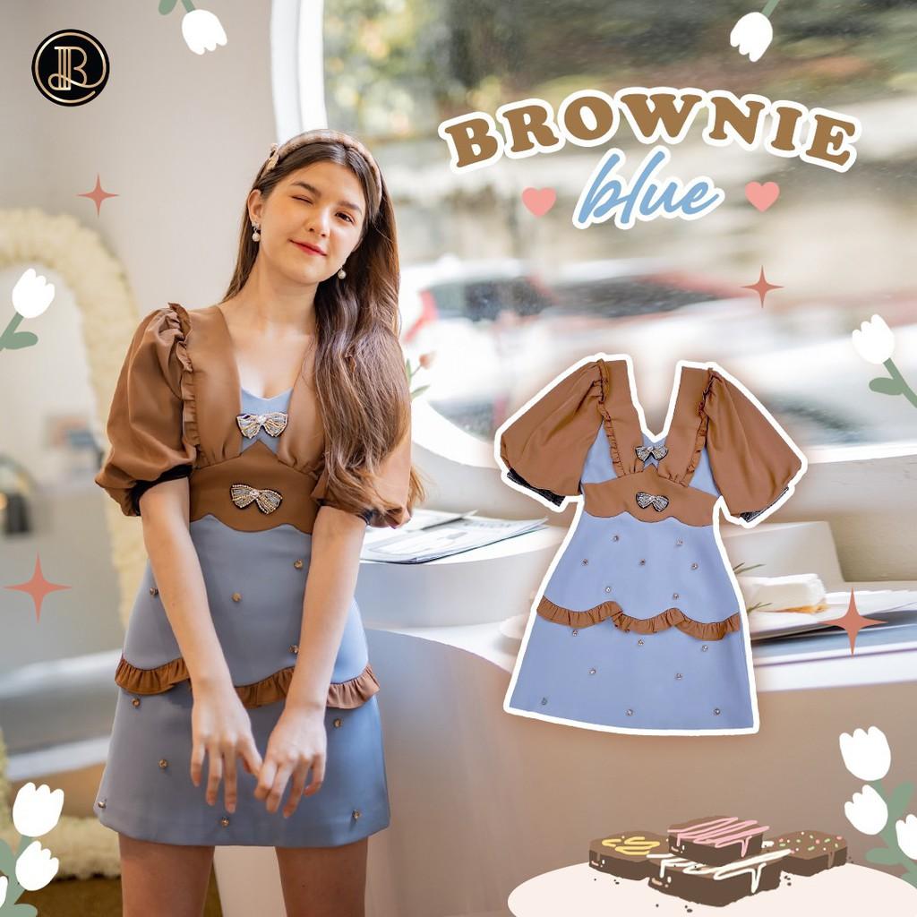 BLT BRAND การันตีเสื้อผ้าแบรนด์แท้ มินิเดรส สีฟ้าแขนน้ำตาล BROWNIE BLUE ชุดหลุด QC อ่านรายละเอืยดก่อนสั่งนะค่ะ Xs