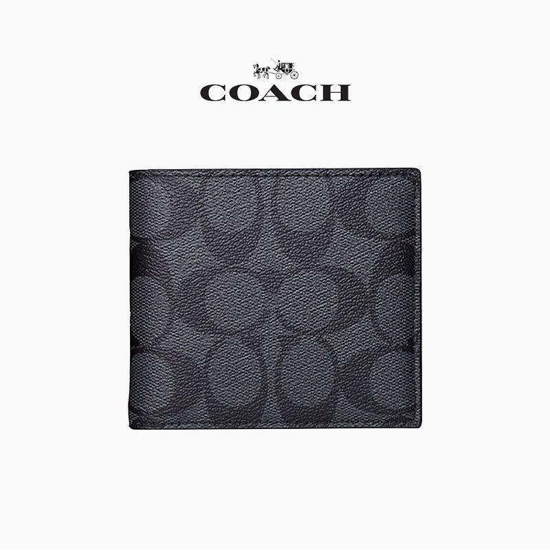∈☬๑COACH/Coach ธุรกิจผู้ชาย แบบลำลอง กระเป๋าสตางค์ใบสั้นพับได้ กระเป๋าคลัตช์ 74993 75083