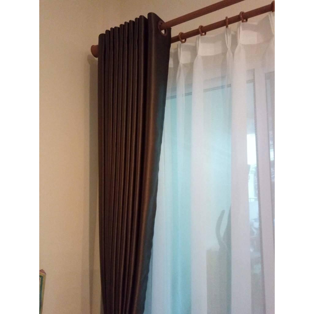 ผ้าม่านสำเร็จรูปกันแสงกันUV แบบตาไก่เจาะห่วง ม่านหน้าต่าง ประตู สีน้ำตาลเข้ม ขนาดกว้าง130*150/130*220/130*250/200*250/20