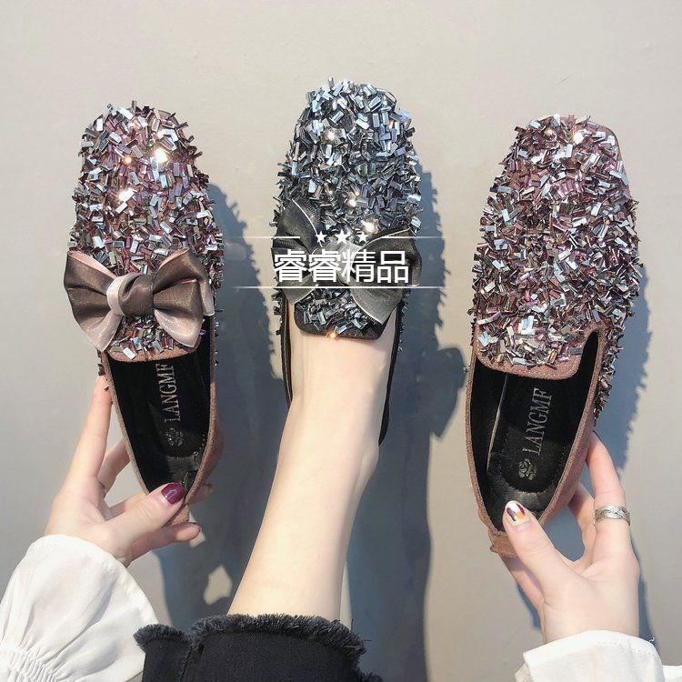 รองเท้าคัชชูแต่งกากเพชร คัชชูแบบสวม รองเท้าคัชชูแฟชั่นแต่งโบว์ รองเท้าแฟชั่นผู้หญิง