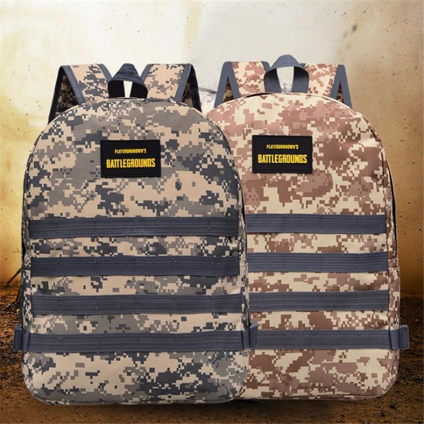 กระเป๋าเป้สะพายหลังสำหรับชายและหญิงทนทานกันน้ำโรงเรียนคอมพิวเตอร์กระเป๋าเดินทางกระเป๋าทหาร PUBG เหมาะกับโน้ตบุ๊ค 14 นิ้ว
