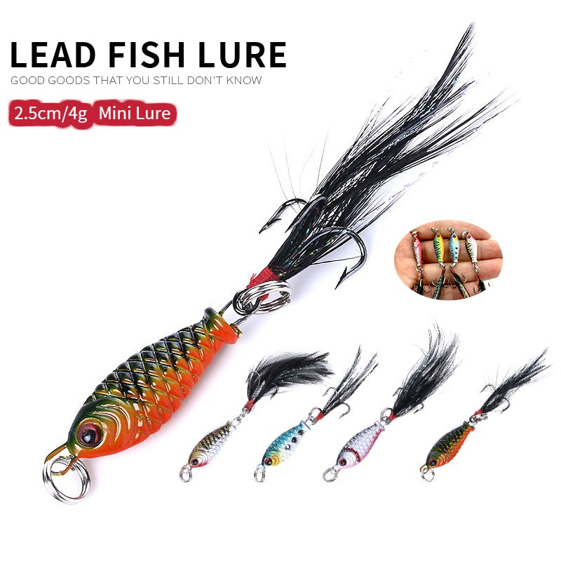 Hook Minnow Feather Metal Fishing Lures Spinning Baits Jig Bait Lead Casting