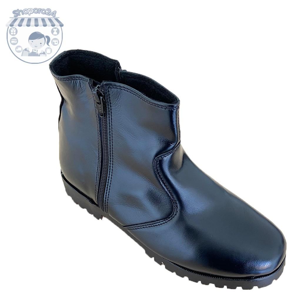 รองเท้าหนังผู้ชาย รองเท้าคัชชูผู้ชาย รองเท้า ฮาฟ รองเท้าทหาร รองเท้าหนังแท้ รองเท้าผู้ชาย รองเท้าทำงาน สีดำ ซิปคู่