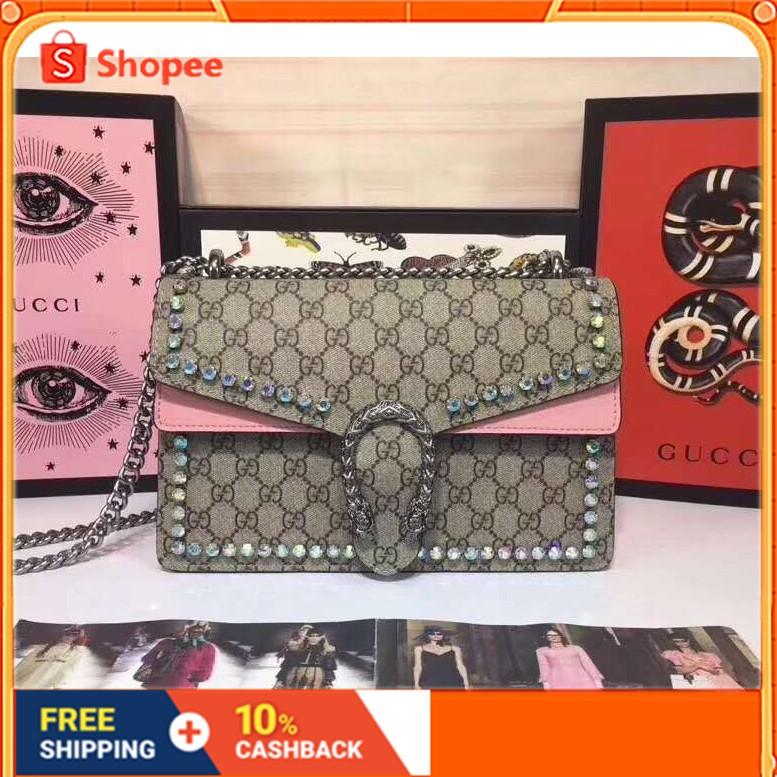 ของแท้ Dionysus Diamond Series Symphony Rhinestone Bacchus Bag 400249 Gucci Ladies Chain Shoulder Bag