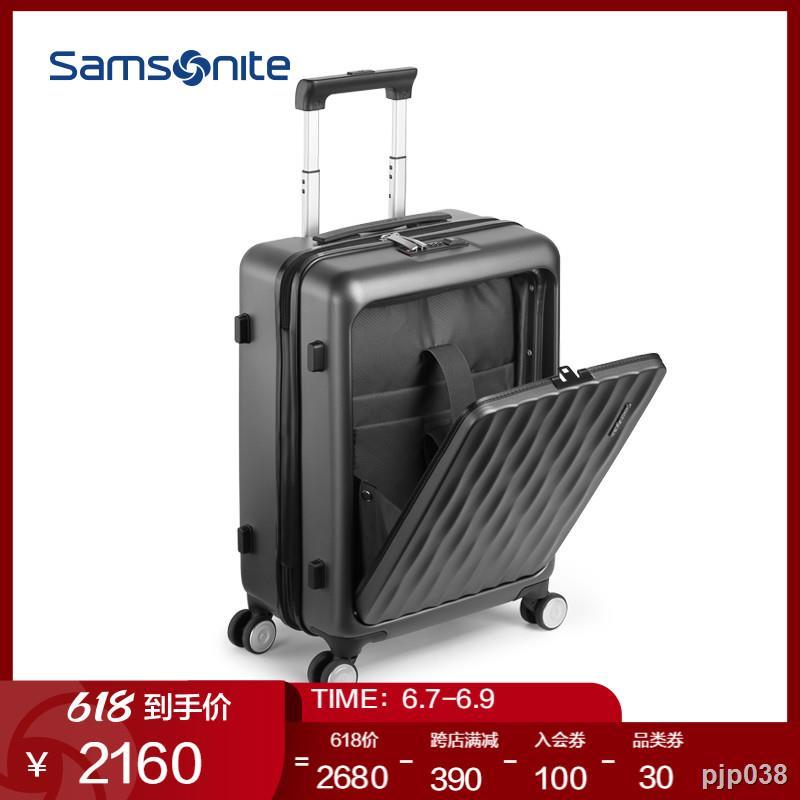 ○▥กระเป๋าเดินทางล้อลาก Samsonite/Samsonite แบบเปิดด้านหน้า กระเป๋าเดินทางแฟชั่น กระเป๋าเดินทางขนาด 20 นิ้ว tt9