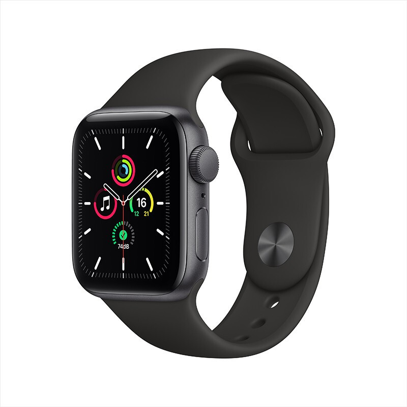 Apple Watch SE Smart Watch GPSStyle 40mm Deep Space Gray Aluminum Metal Case Black Sport BandMYDP2CH/A