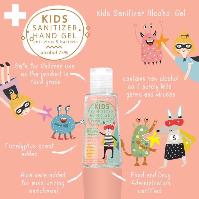 เจลล้างมือพกพา for kids แอลกอฮอล์ 75%  ชนิดไม่ต้องล้างออก ใช้ได้ทั้งเด็กและผู้ใหญ่