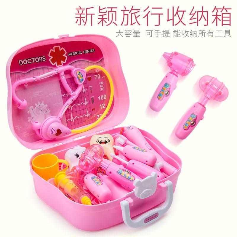 ครอบครัวเด็กหมอเด็กสาวหูฟังของเล่นกระเป๋าเดินทางจำลองการฉีด 3-6 ปีของขวัญวันเกิด