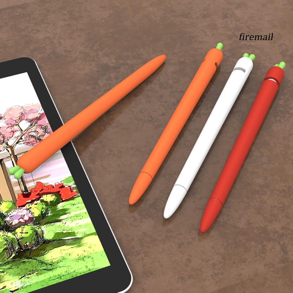 ปากกาทัชสกรีน Stylus Soft Silicone Carrot Grip Case Holder Nib Cover for Apple Pencil 1/2 Touch Pen