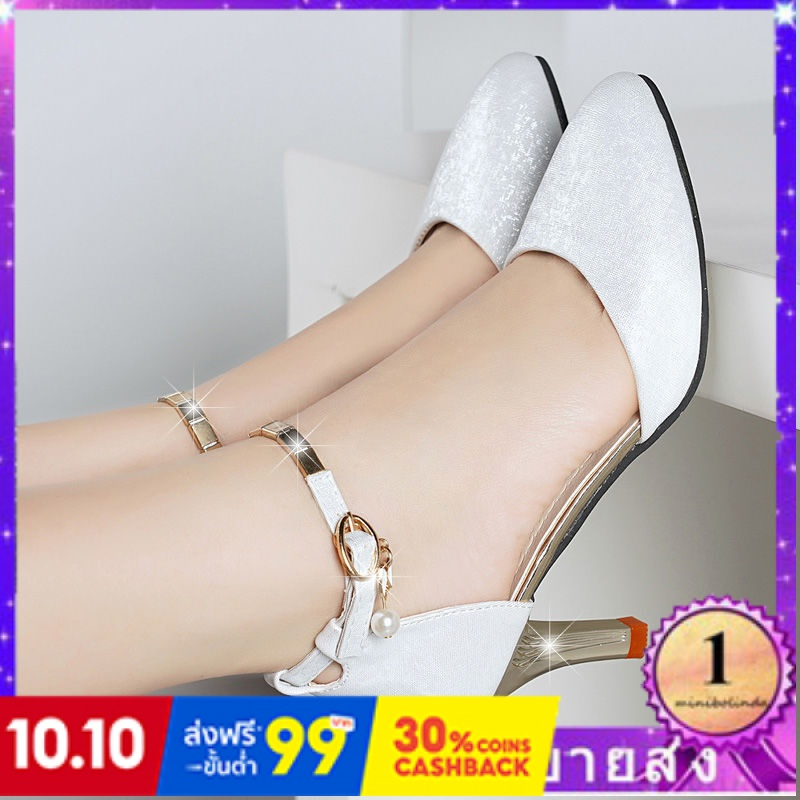⭐👠รองเท้าส้นสูง หัวแหลม ส้นเข็ม ใส่สบาย New Fshion รองเท้าคัชชูหัวแหลม  รองเท้าแฟชั่นรองเท้าแตะผู้หญิงรองเท้าเวอร์ชั่นเก