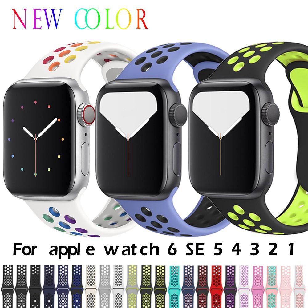 สายนาฬิกา Apple Watch ซีรีย์ 44 มม 40 มม 38 มม 42 มม สาย นาฬิกา สายนาฬิกา Replacement Silicone Sport Band for iwatch series 6 se 5 4 3 2 1