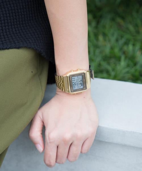 นาฬิกาข้อมือ CASIO A-500WGA สายสแตนเลส ดิจิตอลสทอง ของแท้100% cyos