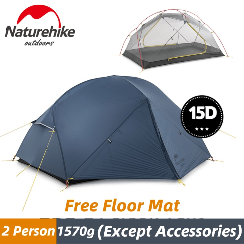 Naturehike Mongar 2-3 Person Camping Tent 15D Nylon Upgrade Double Layer Outdoor Tent Ultralight 1.57kg Waterproof Trave