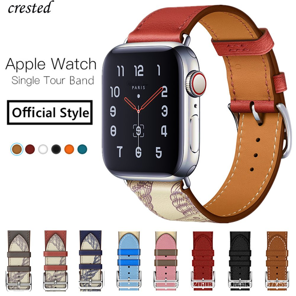 Single tour for Apple watch band 44mm 40mm iWatch band 42mm 38mm Genuine Leather bracelet Apple watch series 3 4 5 se 6